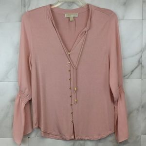 Michael Michael Kors Pink Split Neck Blouse